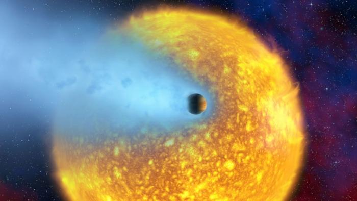 Планета HD 209458b в представлении художника.  NASA/ESA/CNRS/Alfred Vidal-Madjar